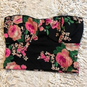 Tops - Floral strapless